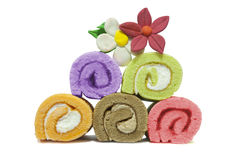 Roll Cakes With Clay Flowers Stock Photos