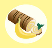 Roll cakes Vector with banana fruits cream. Sweets, dessert berry frosting delicious chocolate melt Stock Image