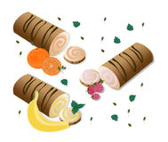 Roll cakes Vector with fruits. Sweets, dessert, Banan, berry, orange frosting Stock Photography