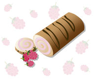 Roll cakes Vector with raspberry fruits. Sweets, dessert berry frosting delicious chocolate melt Royalty Free Stock Photography