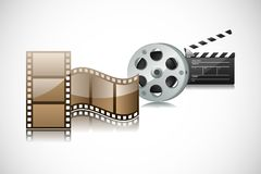 Roll Camera and Action. Easy to edit vector illustration of film reel and clapper board stock illustration