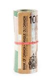 A roll of canadian dollars Royalty Free Stock Photos