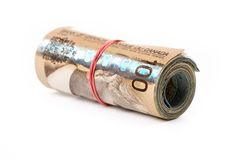 A roll of canadian dollars Stock Images