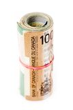 A roll of canadian dollars Royalty Free Stock Image