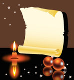 Roll, candle and Christmas balls Stock Photography