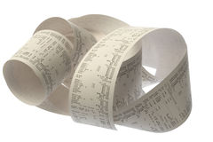 Roll of cash register tape Stock Photo