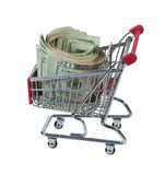 Roll of Cash in a Shopping Cart Royalty Free Stock Images