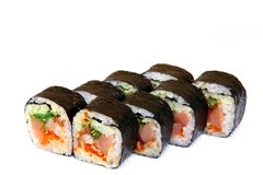 Roll with caviar of salmon. Sushi with caviar of flying fish. Japanese food on a beautiful dish. Diet food royalty free stock photography