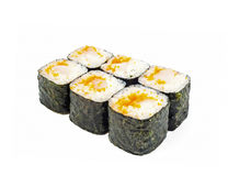 Roll with caviar tuna and white meat fish. With black seaweed Studio isolation Stock Photography