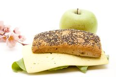 Roll with cheese and apple Royalty Free Stock Image