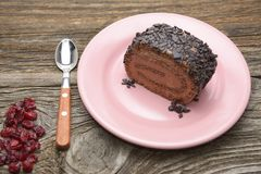 Roll of chocolate cake with cranberry . Stock Image