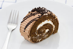 Roll chocolate cake Stock Photo