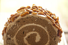 Roll Coffee Cake With Almonds Stock Photos
