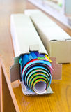 Roll of color paper. Stock Photo