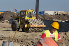 Roll compactor at construction site Royalty Free Stock Photo