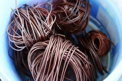 The roll of copper wire in plastic bowl.  Royalty Free Stock Photo