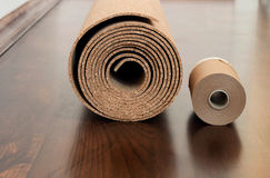 Roll of cork with Painting edging tape Royalty Free Stock Photos