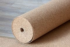 Substrate for a laminate. Roll from cork substrate for laminate royalty free stock photos