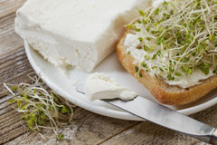 Roll, cream cheese and broccoli sprouts Royalty Free Stock Photo