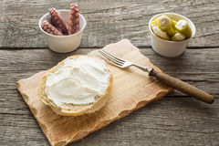 Roll with cream cheese Royalty Free Stock Photo