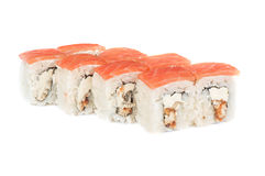 Roll with cream cheese, smoked eel and salmon fish Stock Images