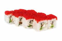 Roll with cream cheese, tobiko caviar Stock Image