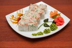 Roll with cream sauce, salmon fish Stock Photo
