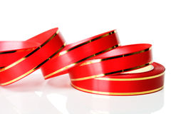 Roll of decorative red ribbon Royalty Free Stock Photography