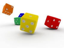 Roll of dice. Roll of color dice - white background vector illustration