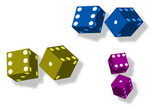 Roll The Dice. Three pair of colorful dice for games and gambling Stock Images