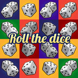 Roll the dice, big set on a different background Royalty Free Stock Photography