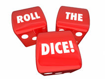 Roll the Dice Playing Game Betting Three Red Roll Stock Photos