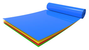 Roll of different color plastic sheets Royalty Free Stock Image