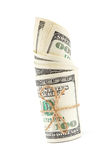 Roll of dollar banknotes on white background. Stock Photography