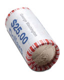 Roll of Dollar Coins royalty free stock photography