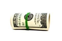 Roll of dollars. Roll of hundred dollars bills stock image
