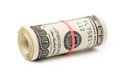 A roll of dollars. With white background Stock Photo