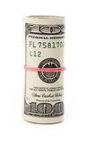 A roll of dollars. With white background Royalty Free Stock Photo