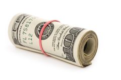 A roll of dollars. With white background Stock Photos