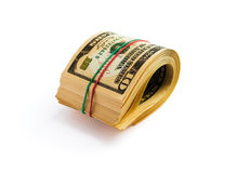 A roll of dollars. Isolated on white background with clipping path Stock Image