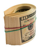 A roll of dollars. Isolated on white background with clipping path Royalty Free Stock Images