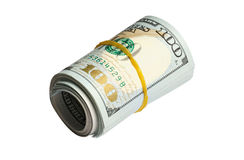 Roll of 100 dollars banknotes isolated on white Royalty Free Stock Photography