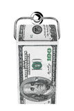 Roll of 100 dollars bills as a toilet paper on chrome holder. On a white background Stock Photography