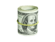 Roll of dollars isolated on a white background.  Royalty Free Stock Photography
