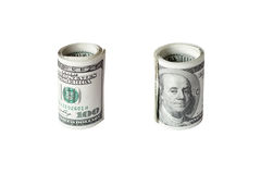 Roll of dollars isolated on white background Stock Photos