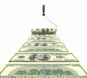 Roll of dollars with a paint roller Royalty Free Stock Photography