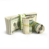 Roll of dollars and stack of bills Stock Images