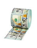 Roll of dollars toilet paper Royalty Free Stock Photography