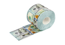Roll of dollars toilet paper Royalty Free Stock Photos