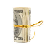 Roll of dollars wrapped in gold stripe Stock Photography